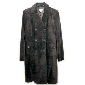 LOFT Dark Brown Suede Long Trench Coat Sz. 10